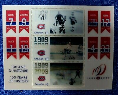 CANADA POST 2009 MONTREAL CANADIENS 100th ANNIVERSARY 3D STAMP SET RETIRE JERSEY