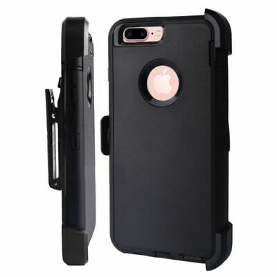 Case For iPhone 7 & iPhone 8 With Screen & (Clip Fits Otterbox Defender) Black