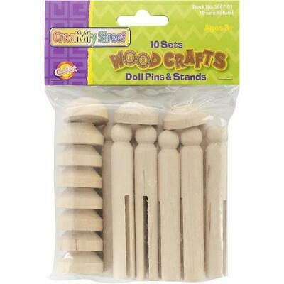 Creativity Street Woodcrafts Doll Pins & Stands - Natural 10 Sets