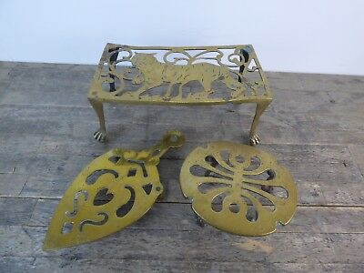 Three Antique Early 20th Century Solid Brass Trivets.