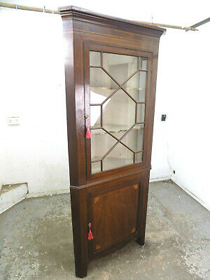 antique,georgian,inlaid,mahogany,corner cabinet,glazed door,cupboard,shelves,
