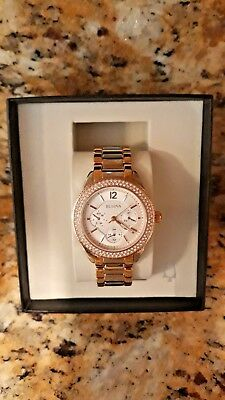 Bulova Crystals Women's Two Tone Bling Stainless Steel Watch 98N100 silver gold
