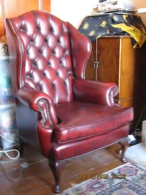 BEVAN FUNNELL CHESTERFIELD OXBLOOD Leather WINGBACK armChair (william Morris S)