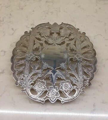 Vintage Silver Plate Wallace Footed Round Trivet # 7321