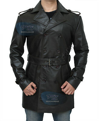 Men's German Classic Ww2 Officer Military Uniform Black Leather Trench Coat
