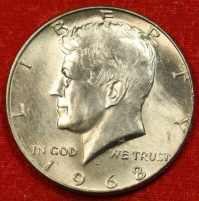 1968-D 50C Kennedy Half Dollar Bu 40% Silver Coin Check Out Store Kh89