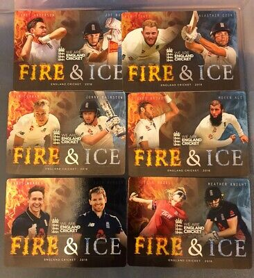 ENGLAND CRICKET 2018 Trading Cards FIRE & ICE CHASE SET (6) Complete