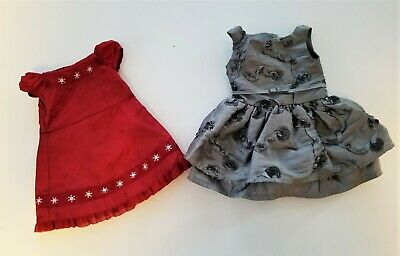 AMERICAN GIRL Doll Party Dress Lot Silver FANCY FLOWER & SCARLET and SNOW