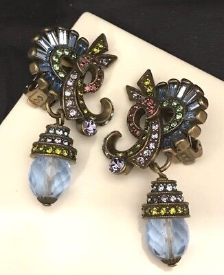 205a28be1 Heidi Daus Earrings Fanfare Crystals Clip Antique Brass Tone Colorful GIFT  8A
