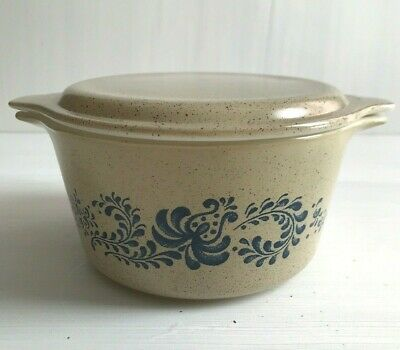 Vintage Pyrex By Corning Casserole 473 1 qt Beige Speckled Floral Homestead
