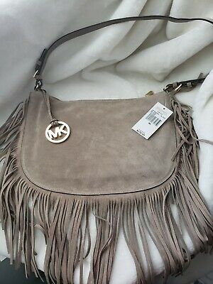 5d35bc7a9552de Michael Kors DAKOTA Taupe Genuine Leather MD Saddle Hobo Shoulder Bag NWT