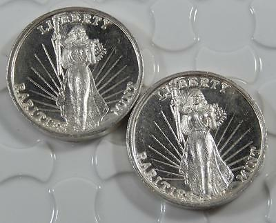 Vintage High Relief Liberty Rarities Mint 999 Fine Silver 1oz 2 Round Lot C0129