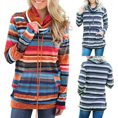 Women Cowl Neck Striped Sweatshirt Patchwork Pocket Drawstring Pullover Tops
