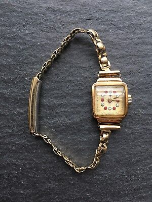 Art Deco 18ct Yellow Gold Cased Ladies Wristwatch Gem Inset Dial Cocktail Watch