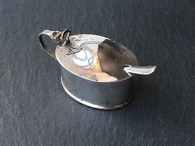 Antique Solid Sterling Silver Mustard Pot With Condiment Spoon Vintage