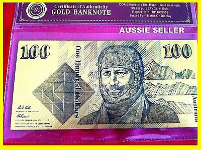 $100 Gold Banknote Coloured 24K Gold Old Australia Limited Note In Cert. Sleeve