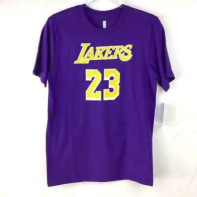 Youth NWT NBA LeBron James Purple Yellow Los Angeles Lakers T-Shirt Jersey  Large a457252a5