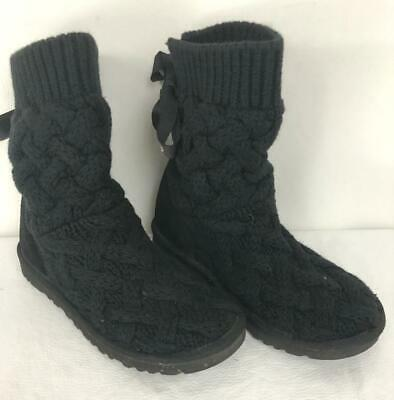 d7f9a3df4ee UGG AUSTRALIA WOMENS Isla Cable Knit Boot Black 1008840 Size 6