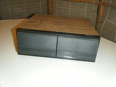 Vintage retro music cassette storage case two drawers box holds 24 tapes
