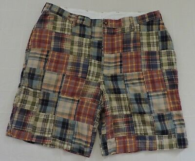 JOS A BANK VIP NWT Mens 40 Multi Color Plaid Patchwork Flat Front Cotton Shorts