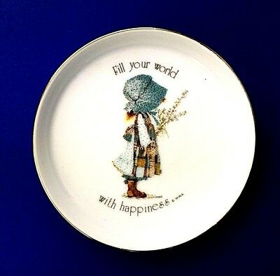 Vintage Holly Hobbie Trinket Dish Fill Your World With Happiness