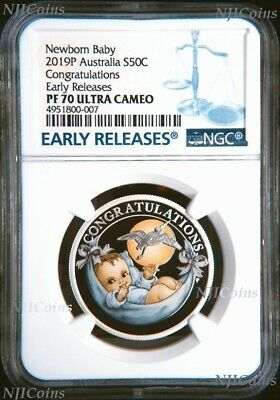2019 P Australia PROOF COLORIZED Silver Newborn Baby NGC PF70 1/2oz 50c Coin