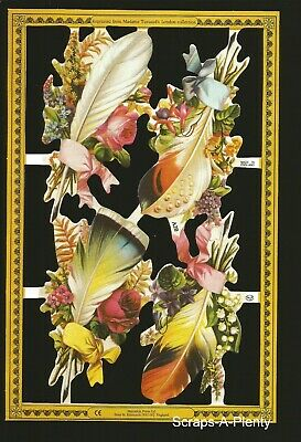 Mamelok English Scrap Die Cut -  Feathers & Flowers  WOW  (Archives Coll.) A20