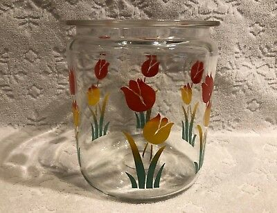 Vintage Depression-Era 1930s+; Clear-Glass Canister-Base Transition-Tulip Motifs