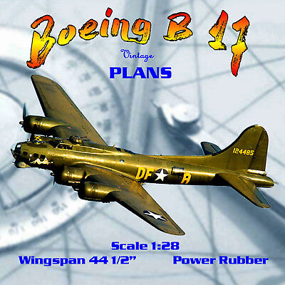 """Full Size Printed Plan vintage 1940 44 1/2"""" W/S Boeing B 17 for Rubber power"""