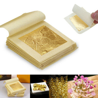 20/50PCS Pure 24k Gold Leaf Sheet Book Food Grade Edible Decorating Art Crafts