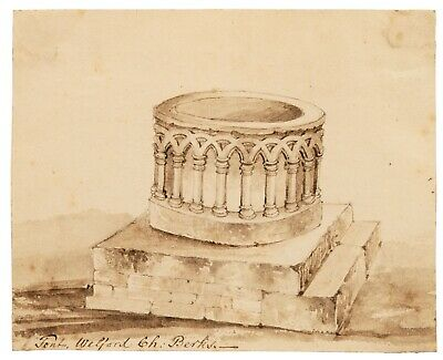 An Antique 18th/19th Century British Architectural Ink Study Sketch Welford Ch.