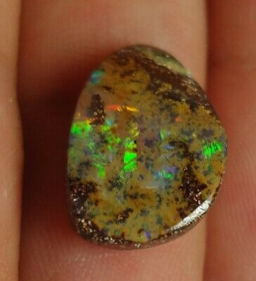 Lapidary: 4.55 carat natural, small polished solid boulder opal from Koroit QLD