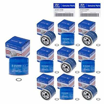 genuine Oil Filter w/ Washers **10PCS** 86-19 Hyundai Kia OEM 26300-35504 korean
