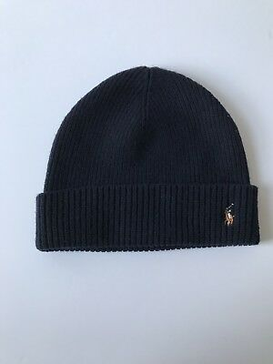 Polo Ralph Lauren Navy Blue Signature Beanie Skully Cuff Hat One Size Fits  All a1953e8a2234
