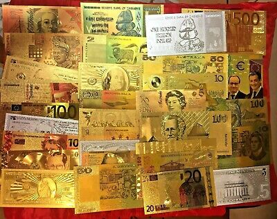 10 Banknotes Bulk Lot 24K Gold Colour, Gold & Silver Mixed Countries