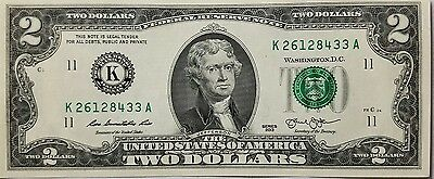 1 Uncirculated $2 Two Dollar Bill USA Good Luck Token - FREE DELIVERY