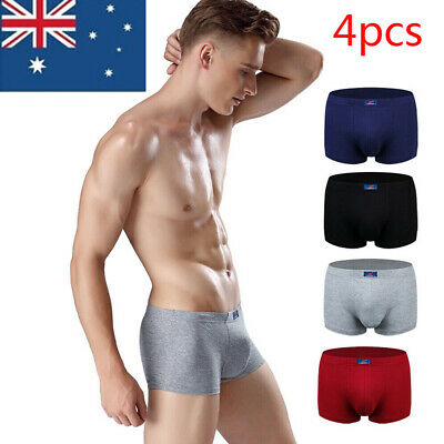 4pcs Mens Underwear Cotton Boys Boxer Briefs Trunks Jocks Underpants Shorts AU