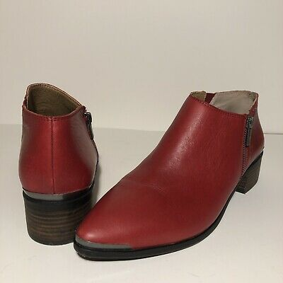 34704cd86aff LUCKY BRAND WOMEN'S Basel Flat Bootie Red Leather Size 11 M $139 HOT ...