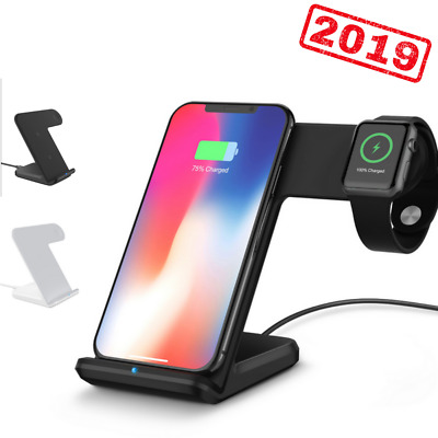 2in1 Qi Wireless Fast Charger Stand Station Dock For Apple Watch iPhone X/8