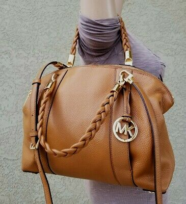 86dce8606e08 MICHAEL Kors Brown Naomi braided Bowling Satchel Purse HandBag Leather $398  euc