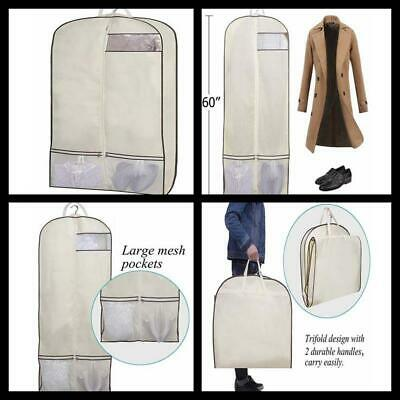 """Trifold Garment Bag 60"""" Long Dress Hanging Clothes Travel Bag with Shoe Pockets"""