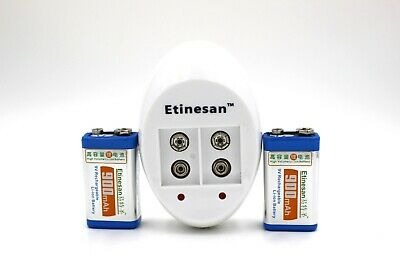2 pcs ETINESAN 900mAh li-ion9 V lithium Rechargeable battery 2 slots 9v charger