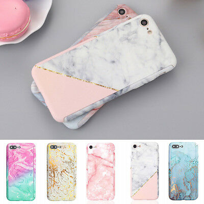 Hybrid 360°Shockproof Marble Case +Tempered Glass Cover For iPhone X 7 8 6S Plus