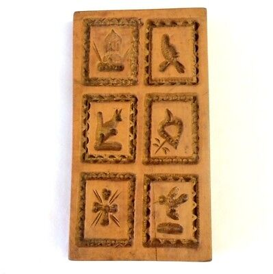 VINTAGE WOODEN GERMAN  SHORTBREAD BISCUIT COOKIE BUTTER MOULD x SIX SHAPES