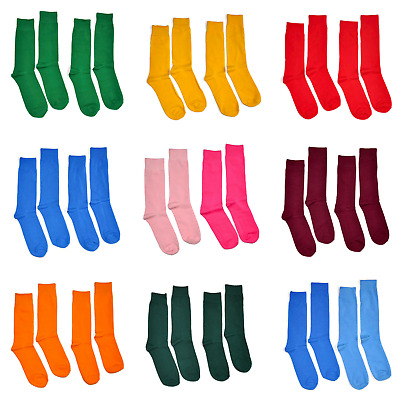 2 Pairs Men's Colorful Dress Socks Solid Color Cotton Wedding Groomsmen Prom