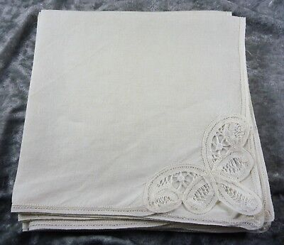 Vintage/Estate 6 Pure Linen Ivory Table Napkins Serviettes Ribbon Lace   Corner