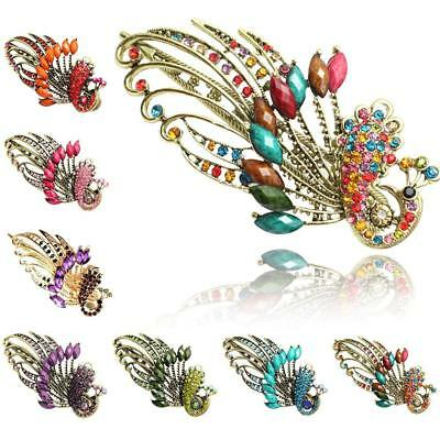 Women Girls Hairpin Butterfly Peacock Accessories Hair Clips Rhinestone Crystal^