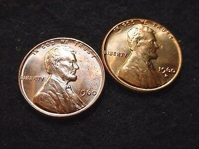 1960 P & D Small Date Lincoln Cents-2 Great Bu Coins!!!   #168