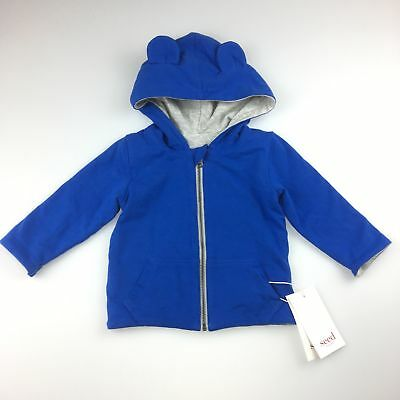Boys size 00, Seed, reversible blue/grey zip up hoodie, pockets, NEW