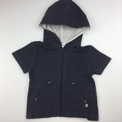 Boys size 0, Bebe by Minihaha, navy cotton, short sleeve hoodie / top, FUC
